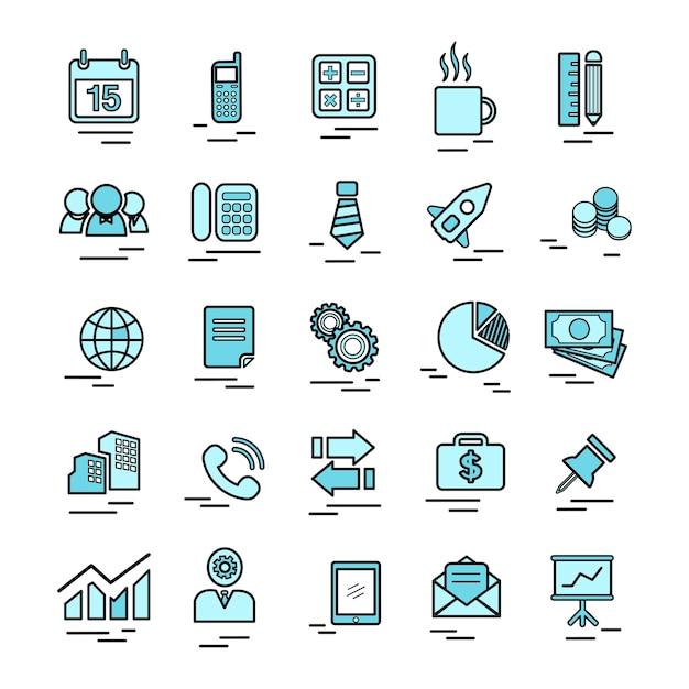Illustrazione delle icone di affari impostate Vettore gratuito