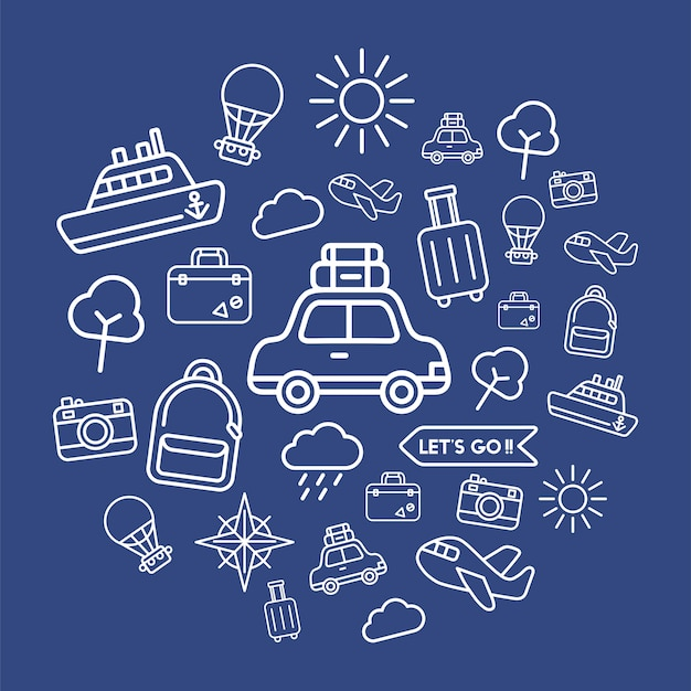 Illustrazione delle icone di viaggio impostate Vettore gratuito
