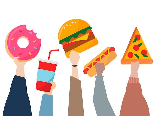 Illustrazione delle mani che tengono alimenti industriali Vettore gratuito