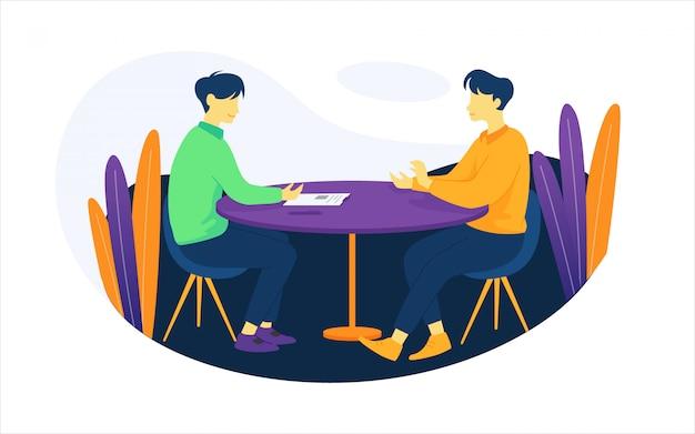 Illustrazione delle persone durante il processo di intervista Vettore Premium