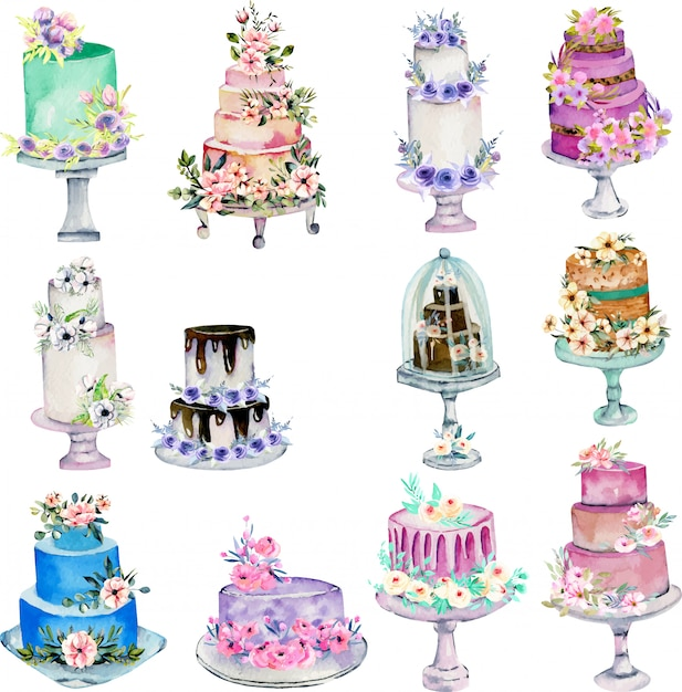 Illustrazione delle torte nuziali di festa dell'acquerello Vettore Premium