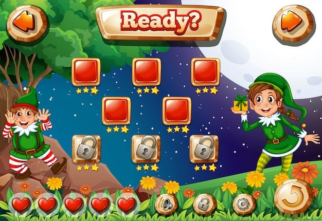Illustrazione dello schermo del videogioco con elfi Vettore gratuito