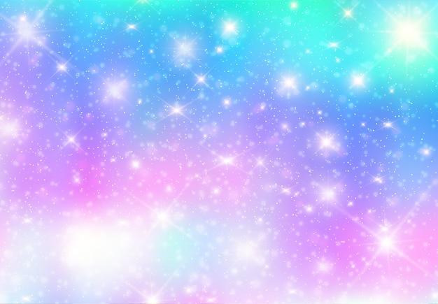 Illustrazione dello sfondo di fantasia galassia e colore pastello Vettore Premium