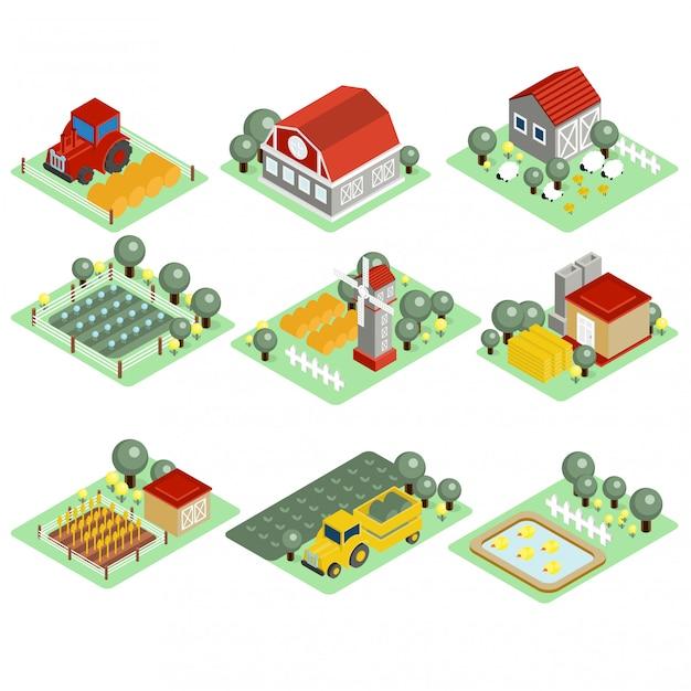Illustrazione dettagliata di un'azienda agricola isometrica Vettore Premium