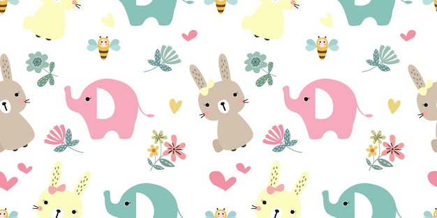Illustrazione di adorabili animali nel modello senza cuciture Vettore Premium