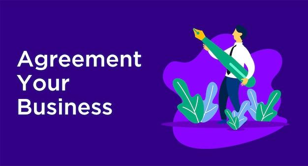 Illustrazione di affari di accordo Vettore Premium
