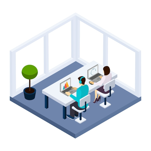 Illustrazione di affari e di coworking Vettore gratuito