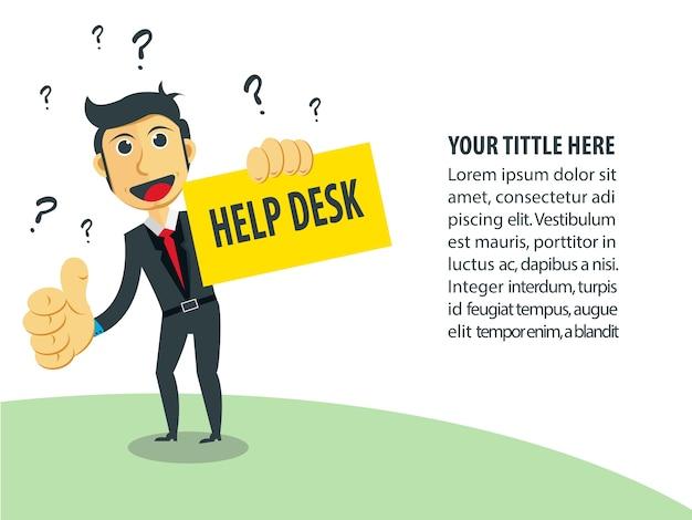Illustrazione di affari uomo d'affari come help desk. Vettore Premium