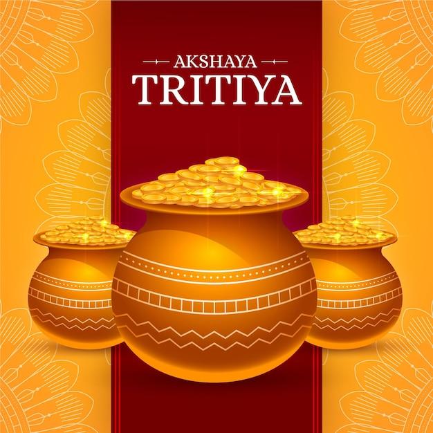 Illustrazione di akshaya tritiya con le monete Vettore gratuito