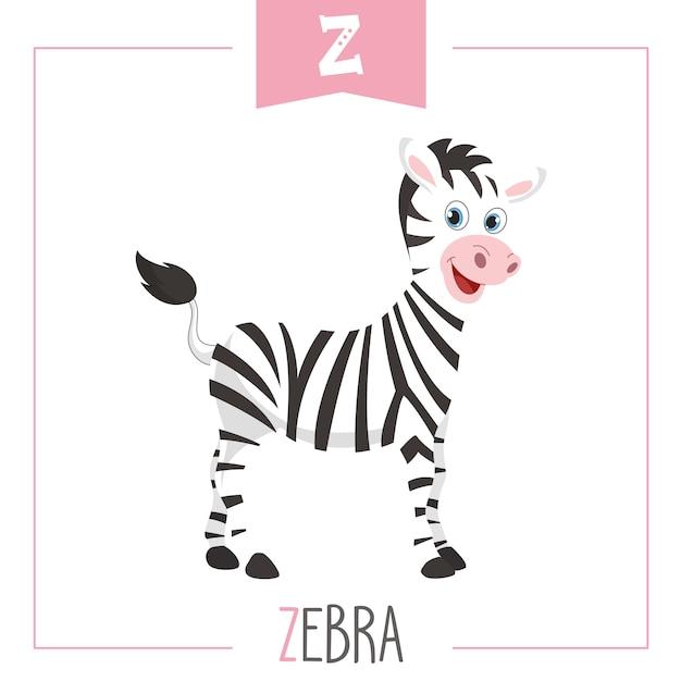Illustrazione di alfabeto lettera z e zebra Vettore Premium
