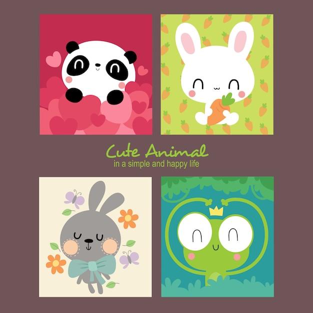 Illustrazione di alice cute animals Vettore Premium