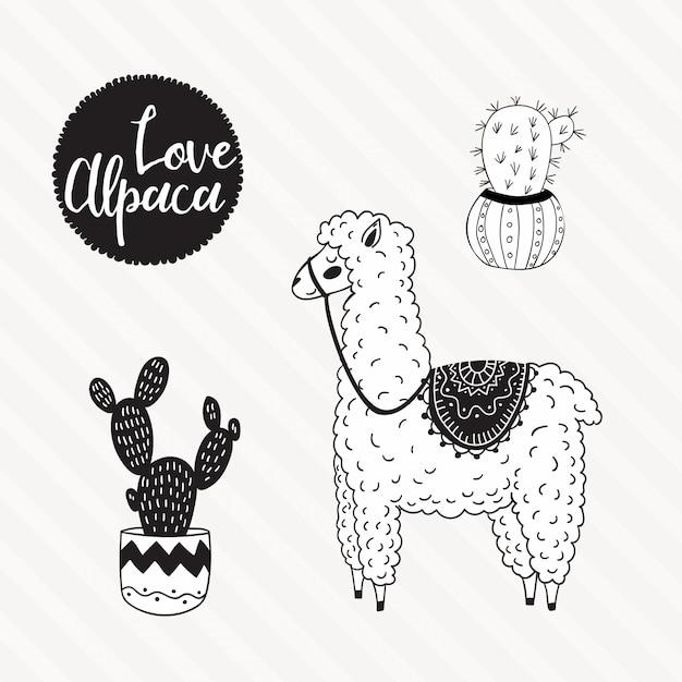 Illustrazione di alpaca disegnata a mano Vettore Premium