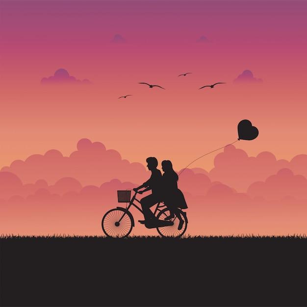 Illustrazione di amore e paesaggio romantico con coppia in amore Vettore Premium