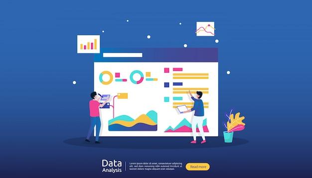 Illustrazione di analisi dei dati digitali per ricerche di mercato e strategia di marketing digitale Vettore Premium