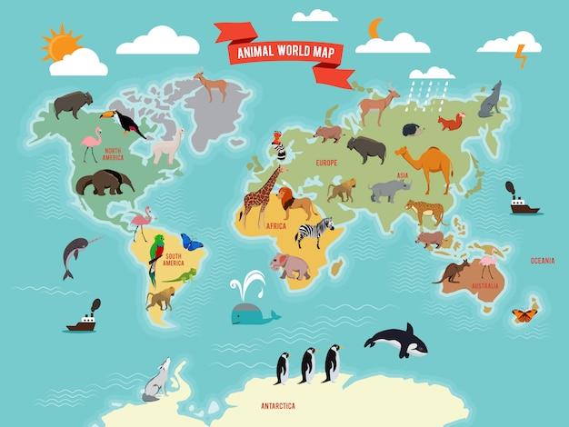 Illustrazione di animali della fauna selvatica sulla mappa del mondo Vettore Premium