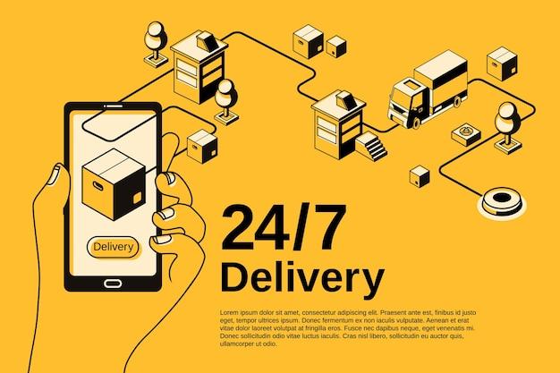 Illustrazione di applicazione del servizio di consegna per il monitoraggio della spedizione di pacchi postali su smartphone. Vettore gratuito