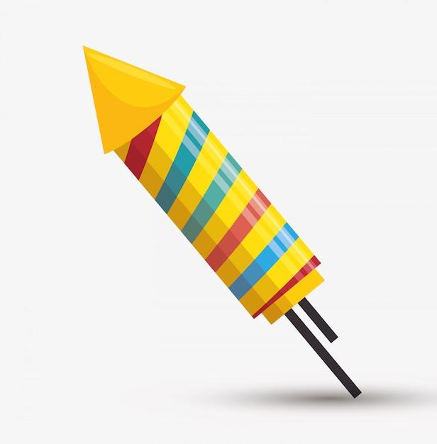 Illustrazione di arcobaleni di fuochi d'artificio del razzo Vettore gratuito