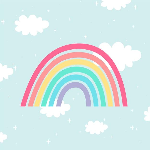 Illustrazione di arcobaleno stile piano Vettore gratuito