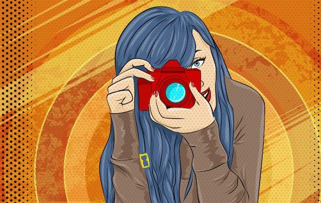 Illustrazione di arte di ragazza del libro di fumetti Vettore Premium