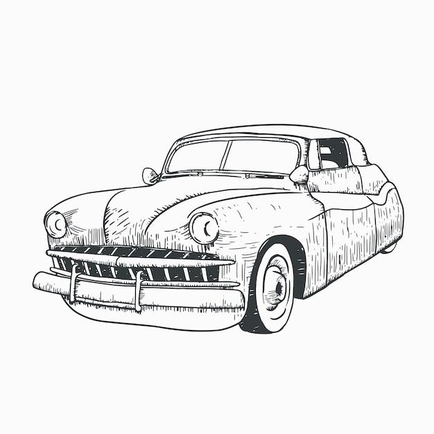 Illustrazione di arte linea auto classica Vettore Premium