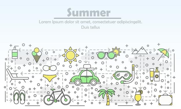 Illustrazione di arte linea piatta pubblicità estiva Vettore Premium