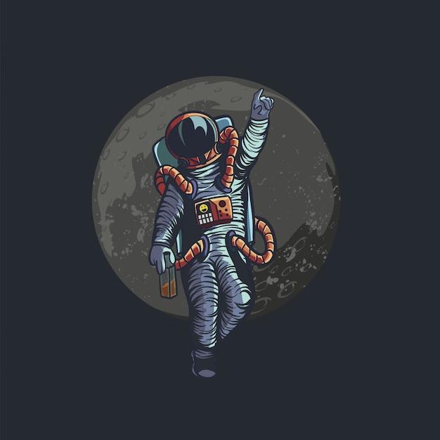 Illustrazione di astronauta ubriaco ciao a te Vettore Premium