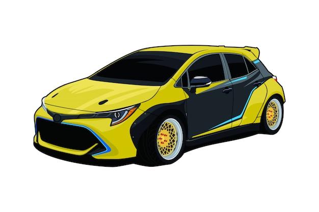 Illustrazione di auto alla deriva Vettore Premium