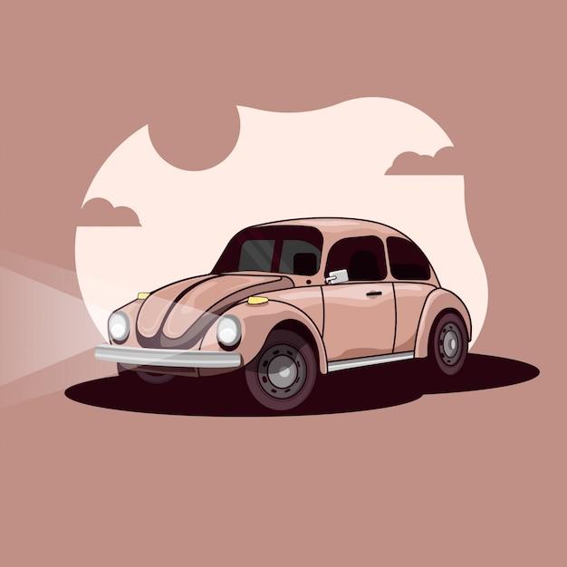 Illustrazione di auto d'epoca Vettore Premium