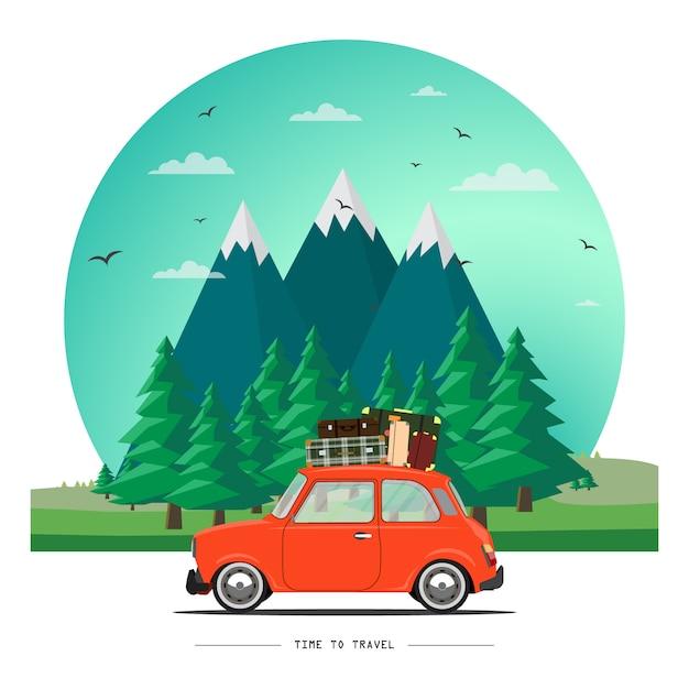 Illustrazione di auto in viaggio Vettore Premium