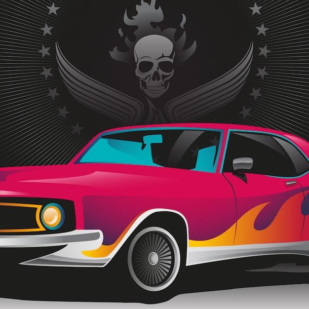 Illustrazione di auto retrò Vettore Premium