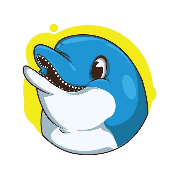 Illustrazione di avatar carino delfino Vettore Premium