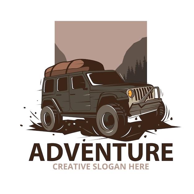 Illustrazione di avventura con auto jeep in montagna Vettore Premium