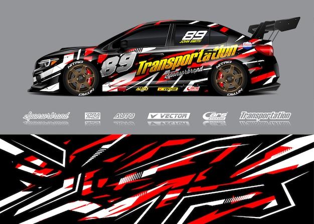 Illustrazione di avvolgimento auto da corsa Vettore Premium