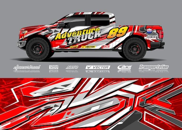 Illustrazione di avvolgimento del veicolo di avventura Vettore Premium