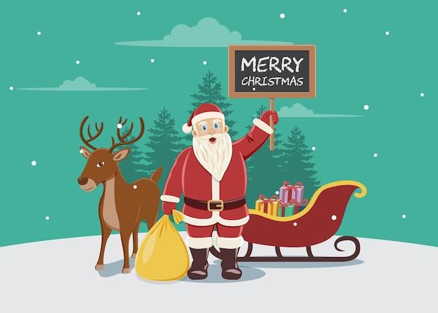 Babbo Natale Con Le Renne.Illustrazione Di Babbo Natale Con Renne E Slitta Scaricare Vettori