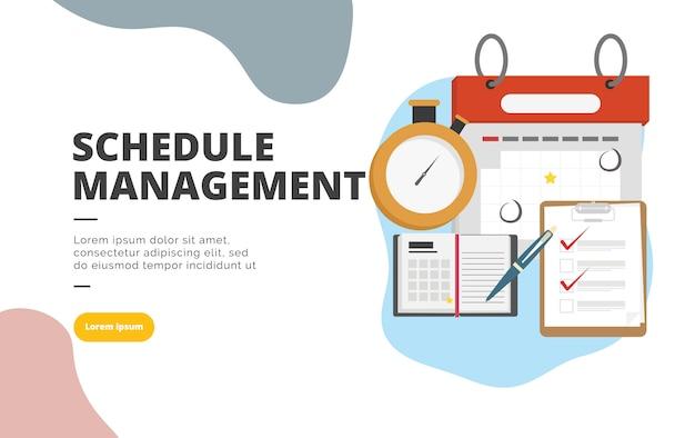 Illustrazione di banner design piatto di gestione di pianificazione Vettore Premium