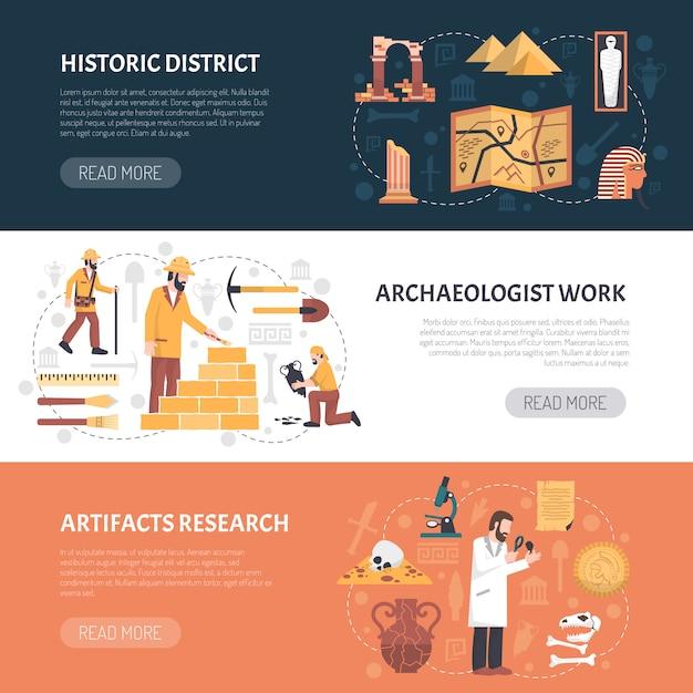 Illustrazione di banner di archeologia Vettore gratuito