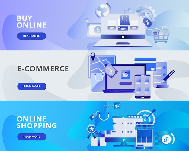 Illustrazione di banner web di acquisto online, e-commerce e shopping online Vettore Premium