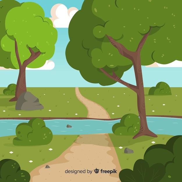 Illustrazione di bello paesaggio naturale con i grandi alberi Vettore gratuito