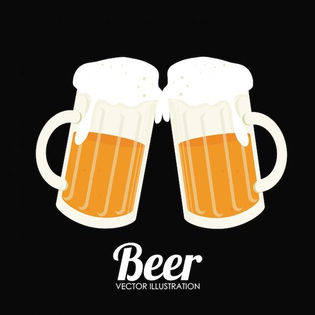 Illustrazione di birra design nero Vettore gratuito