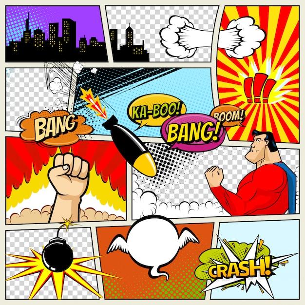 Illustrazione di bolle di discorso di fumetti retrò vettoriale Vettore Premium