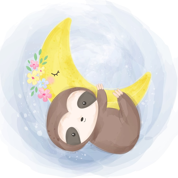 Illustrazione di bradipo bambino carino Vettore Premium