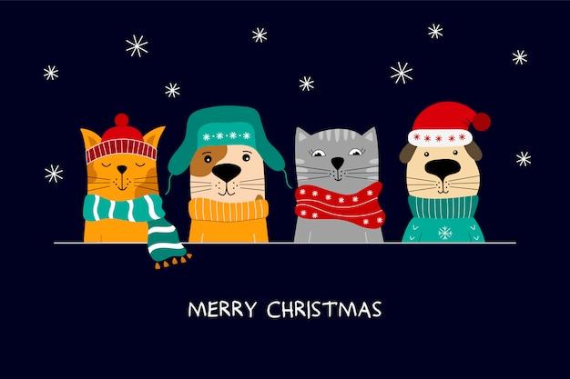 Illustrazione di buon natale di simpatici gatti e cani divertenti. Vettore Premium