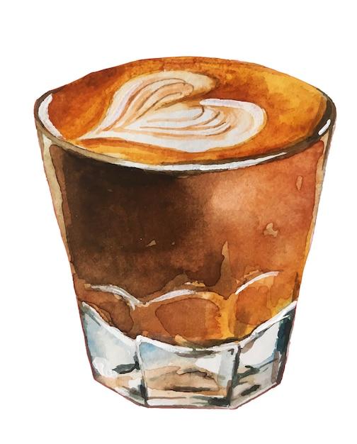 Illustrazione di caffè dell'acquerello Vettore Premium