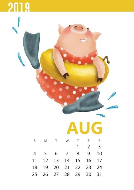 Illustrazione di calendari di maiale divertente per agosto 2019 Vettore Premium