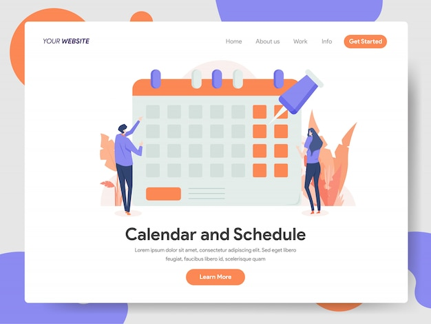 Illustrazione di calendario e calendario Vettore Premium