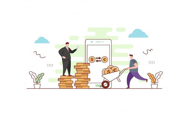 Illustrazione di cambio valuta Vettore Premium