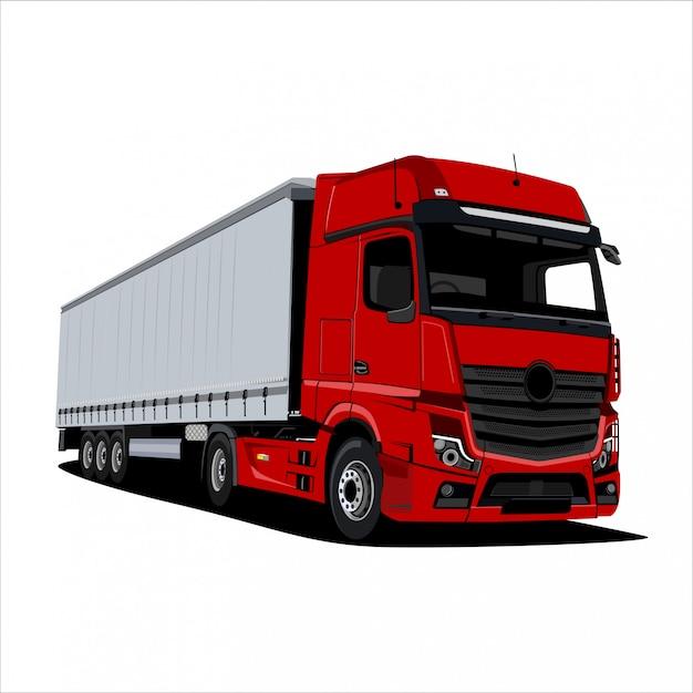 Illustrazione di camion rosso Vettore Premium