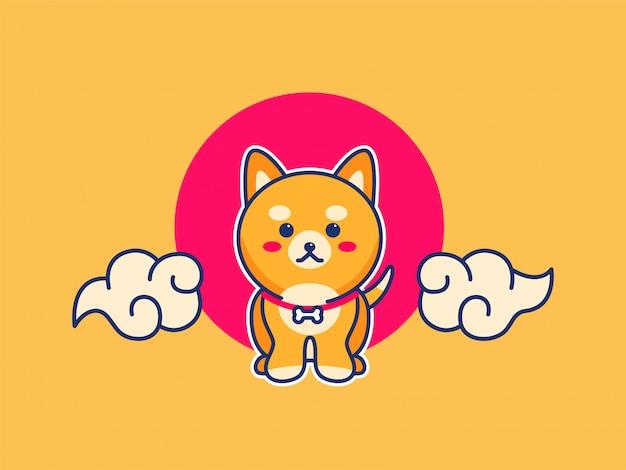 Illustrazione di cane cucciolo carino Vettore Premium