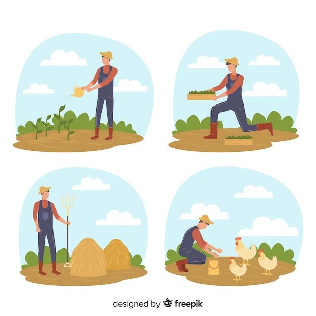 Illustrazione di carattere attività agricola Vettore gratuito